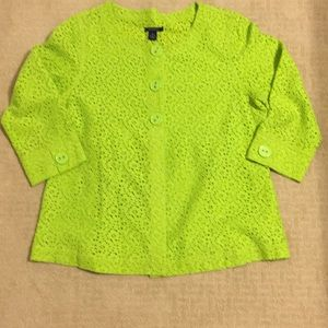 Lime green flower lace cardigan